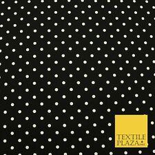 BLACK WHITE Small Spot Polka Dot Printed CANVAS Fabric Craft Dress Bags 1635