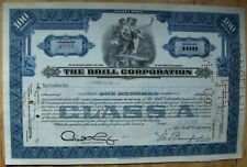 Stock certificate Brill Corporation 1943 + document. State of Delaware