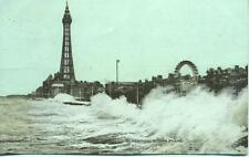 Storm Scene Tower Big Wheel Blackpool 1904 postcard
