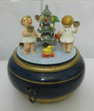 HEDO seltene Spieluhr Spieldose mit 3 Engeln und Weihnachtsbaum