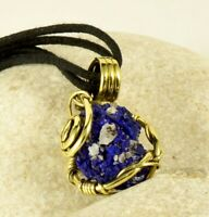 Druzy Rough Azurite Crystal Pendant Natural Gemstone Antiqued Brass Wire Wrapped