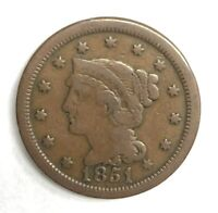 1851 Braided Hair Large Cent 1¢ Very Good+