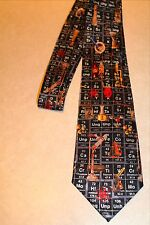 """New Neck Tie Blue Science Periodic Table Chart Beaker Lab 3.8""""W 58"""" L"""