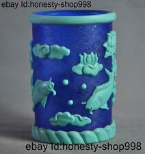 Marked Chinese glass glaze Carved Auspicious lotus Fish Brush Pot Pencil Vase