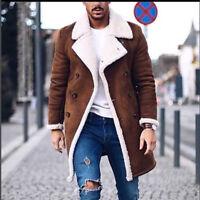 Men Luxury Wool Jacket Warm Winter Trench Long Outwear Button Overcoat Coats UK