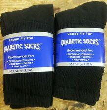 Made in USA 6 pair (9-11) of black diabetic crew socks.