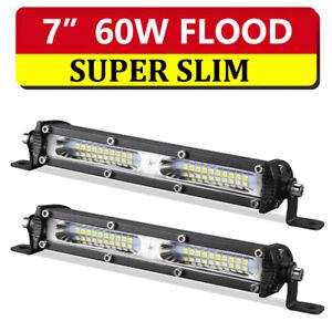"2x 7"" inch 60W Flood LED Light Bar Super Slim Offroad Boat Work Reverse Lamp"