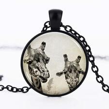 Giraffe Black Dome Glass Cabochon Necklace chain Pendant #158