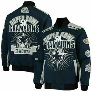 Dallas Cowboys 5 Time Super Bowl Triumph Jacket - Cotton Twill Adult Large