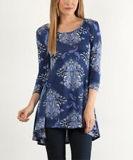 Hi Low Tunic Size UK 6 Ladies Womens Blue Paisley Long Top BNWT #309