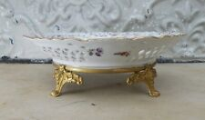 Ancienne assiette ajourée de présentation sur support Porcelaine de Saxe