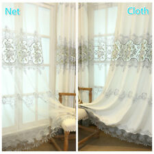 Luxury Floral Embroidery Fabric Curtain Net Hollow Cloth Panel Drape Divider