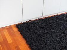 Hochflor-Handwebteppich, Schurwolle, schwarz, 170 x 240 cm