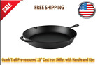 """Ozark Trail Pre-seasoned 15"""" Cast Iron Skillet with Handle and Lips"""