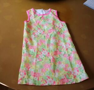 Lilly Pulitzer Sleeveless Dress with Neon Pink Trim - Girls Size 10 - worn once