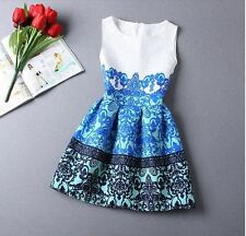 Gorgeous Forever 21 Asos Style  Printed Vintage printed blue Dress in M L 8 10