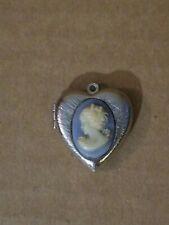 Cameo Locket Small Heart Shaped Vintage Jewelry