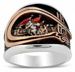 Solid 925 Sterling Silver Conquest of Istanbul Men's Ring