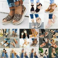 WOMEN WEDGE HEEL ESPADRILLES LADIES SUMMER SANDALS BEACH ANKLE STRAP PUMPS SHOES
