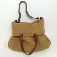 Lucky Brand Large Brown Suede Leather Shoulder Bag Hobo Tote Slouch Purse Bag