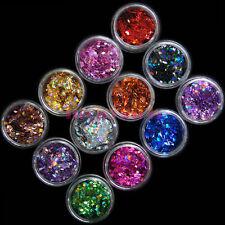 12 Pots Colors Nail Art UV Acrylic 3D Rhombus Shape Glitter Sequins Powder Set