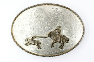 Crown Silver Vintage Sterling and Brass Lasso/Rodeo Belt Buckle