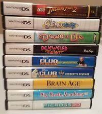 Lot of 9 Nintendo DS Games: Lego Indiana Jones, Brain Age, Picross, Club Penguin