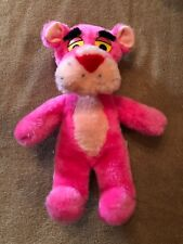 """Vintage 10"""" Pink Panther Plush 1980 by Mighty Star with Yellow Eyes"""