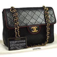 Auth CHANEL Quilted Double Chain Shoulder Bag Bi-color BK RE Leather VTG AK15419