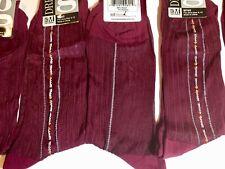 5 PAIR RED RHT WITH CLOCKING SILKY SHEER NYLON DRESS SOCKS RIBBED FITS SHOE 6-12