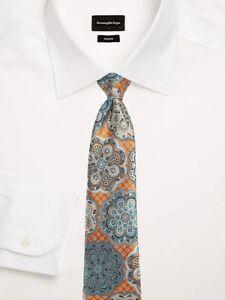 New Ermenegildo Zegna #152 Quindici Medallions Silk Tie, Color- Orange