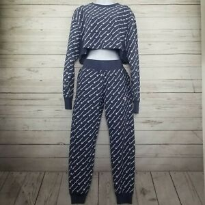 Champion Reverse Weave Womens Small Allover Print Cropped Top & Jogger 2 PC Set
