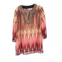 Chico's Womens Size 3 XL Sheer Tunic Top Brown Bead Embellished 3/4 Sleeve