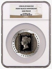 1990 Isle of Man 5 oz Silver Crown Penny Black 150th Anniversary NGC Gem Proof