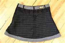 jolie jupe en laine noire et satin DESIGUAL taille 42 fr 46i EXCELLENT ÉTAT