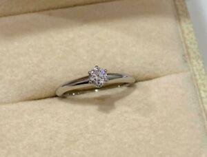 Platinum Tiffany & Co 0.19ct Round Cut Diamond Engagement Ring