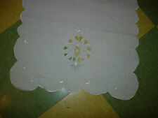 """2 VINTAGE TABLE RUNNERS-EMBROIDERED OPEN DESIGN-(1 )44"""" X 15""""-(1) 42"""" X 15""""-#P48"""