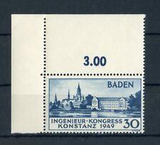 BADEN Nr.46I ** ECKRANDSTÜCK links oben - 30Pfg. Konstanz 1949 !! (133740)