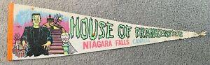 HOUSE OF FRANKENSTEIN NIAGARA FALLS CANADA 1960S PENNANT RARE AUCTION WAX MUSEUM