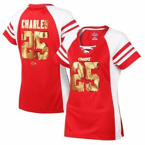 NWT Women's JAMAAL CHARLES Kansas City Chiefs SEQUIN Lace-Up Jersey-Style TShirt
