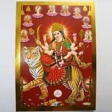 Altarbild Durga, Prägedruck Indien Hinduismus Ma Amba Bild Guru Om Puja 4