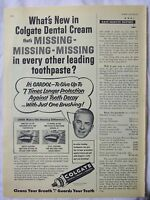 1956 Magazine Advertisement Page For Colgate Dental Cream Toothpaste Vintage Ad