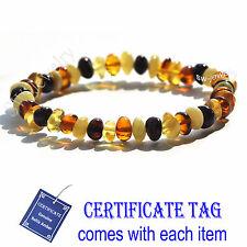 Multi Color Baroque Natural  Baltic Amber Stretch Adult Bracelet
