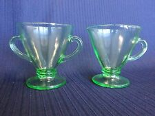 1930 Green Depression Glass Anchor Hocking Ovide Sugar Bowl and Creamer, Mint