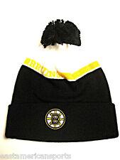 Boston Bruins NHL Reebok Pom Ball Knit Hat Cap Black White Logo Ski Snow Beanie