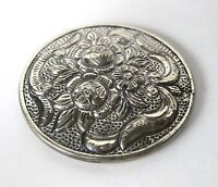 Circa. 1900   Round Silver Purse Mirror With Original Repousse  Cover