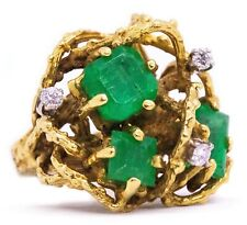 ORGANIC RETRO 18 KT SCULPTURAL RING WITH 5.05 Cts IN DIAMONDS & EMERALDS SUPERB