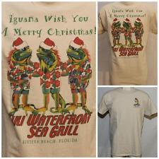 "Santa Hat Iguana Wish You A Merry Christmas Tiki Med Tshirt 19"" Pit2Pit DC-162"