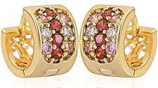 NEW Pair 18K Gold Filled Plated Mens & Womens Iced Huggie Hoop Earrings 15mm