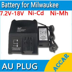 Battery Charger for MILWAUKEE AEG ATLAS COPCO 7.2V-18V 12V 14.4V Ni-MH Ni-Cd AU